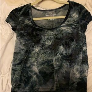 American Eagle Blue Velvet Top